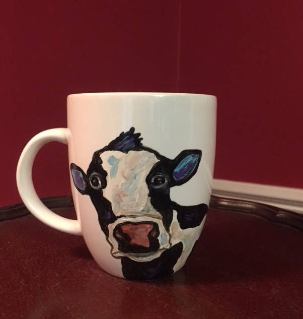 Small Cow Mug, hand painted glassware by Ana Peralta by DecoArtz on Etsy https://www.etsy.com/listing/566063930/small-cow-mug-hand-painted-glassware-by