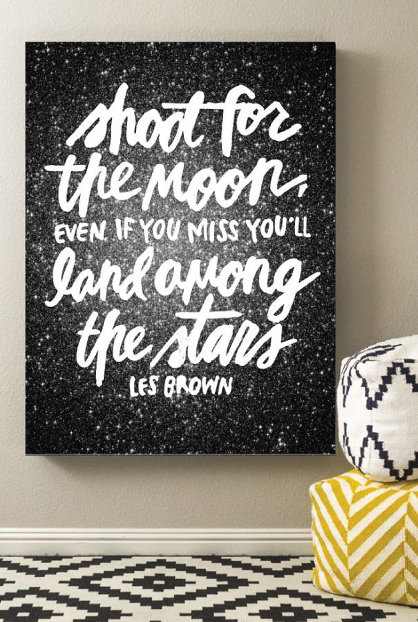 Free printable: Shoot For The Moon inspirational quote art print from Caravan Shoppe