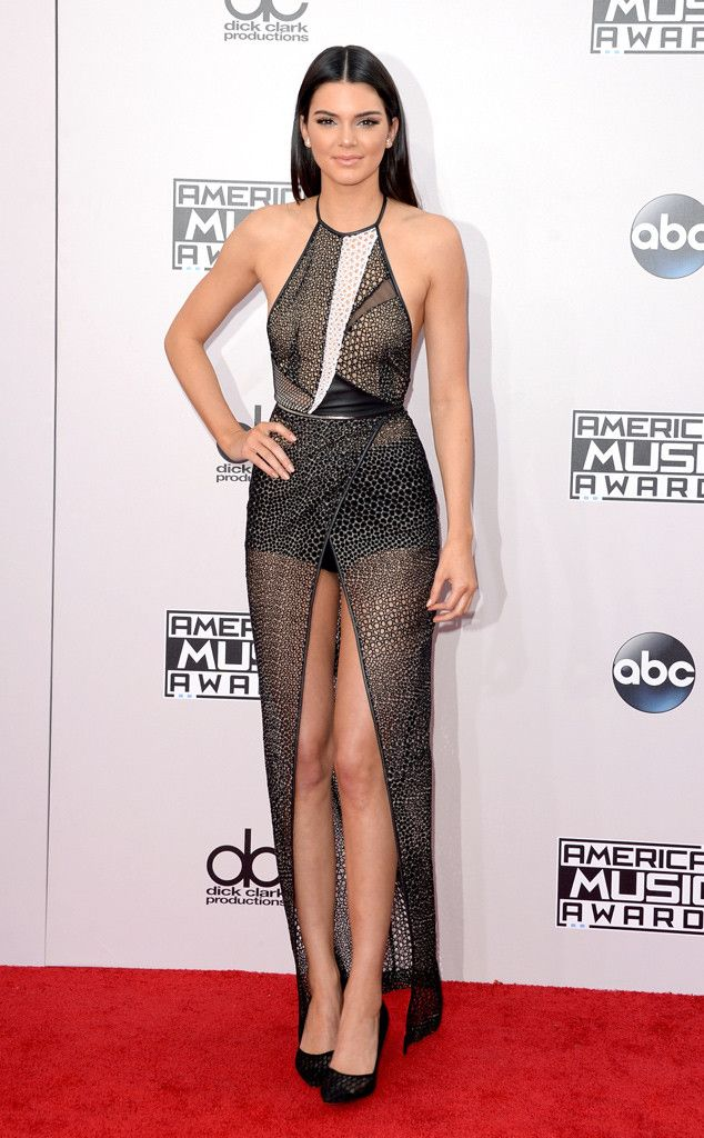 WOWZA. Kendall Jenner looks beautiful in this ultra sheer number at the American Music Awards 2014.