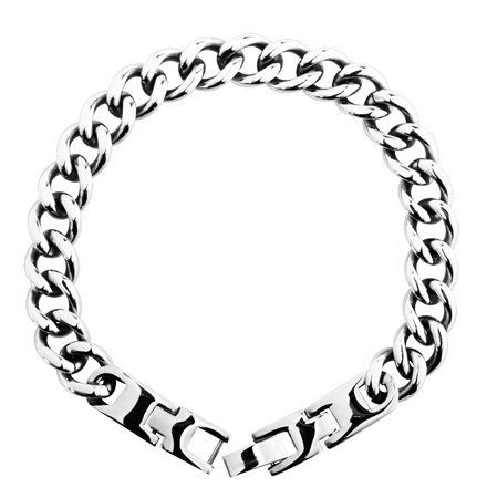 Curbed Chain Bracelet - 316L Stainless Steel - 1/4'' Width Bracelets - Stainless Steel. $59.99