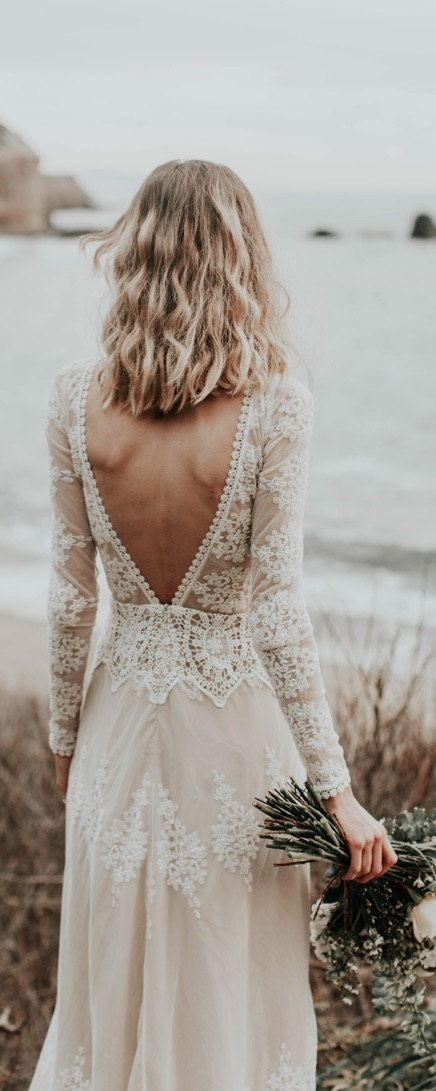 Lisa Lace Bohemian Wedding Dress | Cotton Lace with OPEN BACK and SILK liner | Handmade | Long Sleeve Boho Beach Wedding Dress