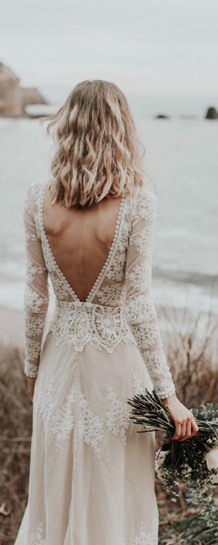 Lisa Lace Bohemian Wedding Dress   Cotton Lace with OPEN BACK and SILK liner   Handmade   Long Sleeve Boho Beach Wedding Dress
