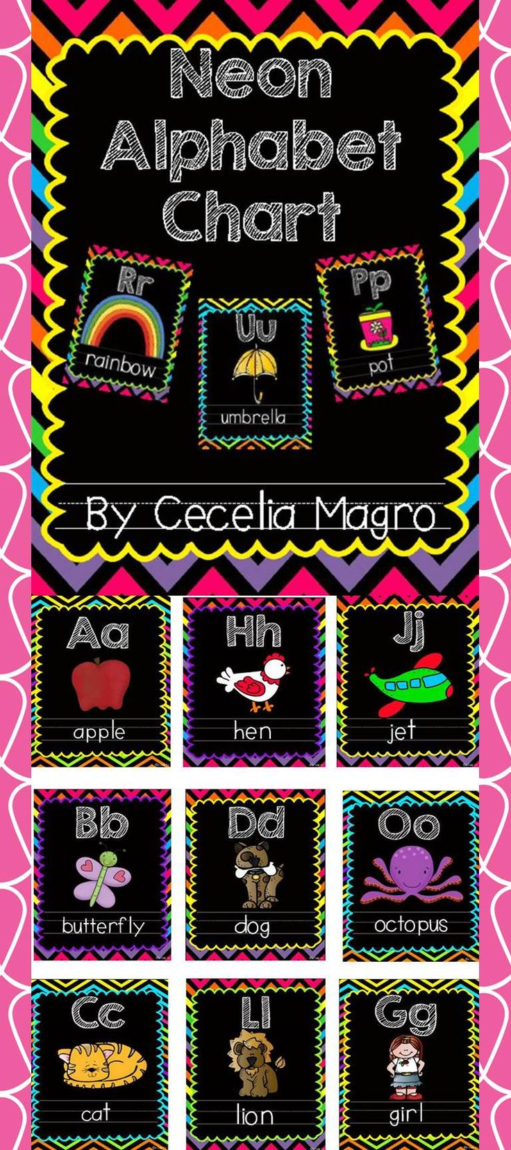 Eye catching neon chevron alphabet posters