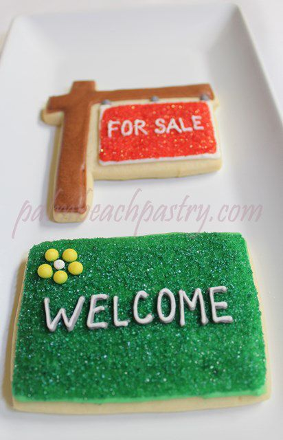 Real Estate FOR SALE sign & WELCOME Mat   Decorated Sugar Cookies 1 Dozen (12)