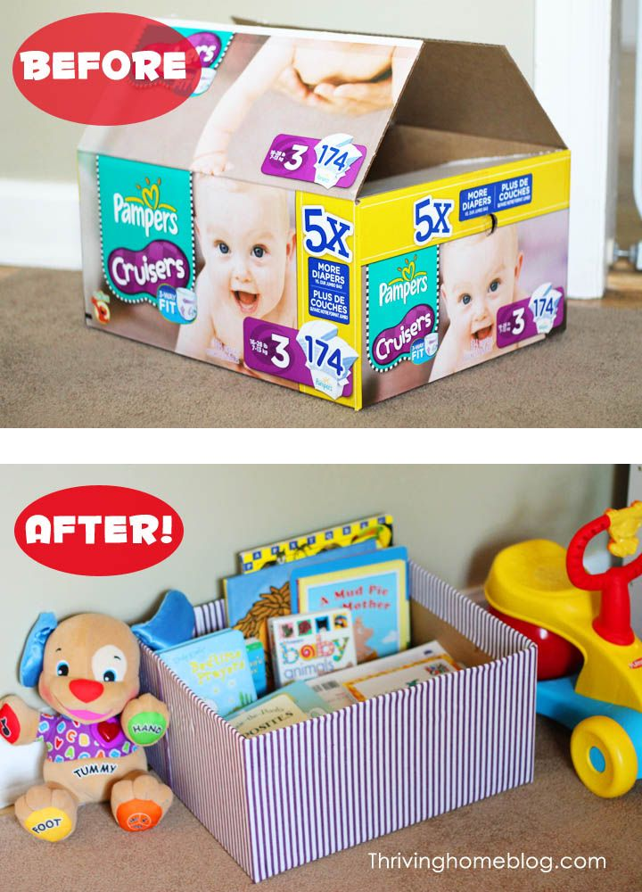 Reuse diaper boxes to make creative storage space! All it takes is some adhesive spray and fabric.