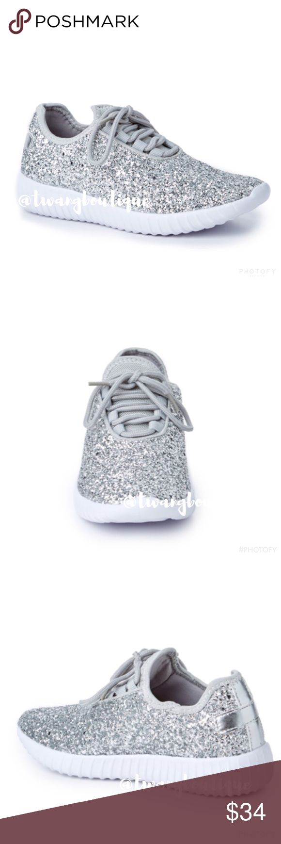 BACK << Silver Glitter Sneakers Shoes > So sparkly! Sparkle, shine and stand out in these shoes! These babies are comfy and will make any outfit look so glam! Fit true to size. Available in whole sizes only, so if you are a half size go a size up. Use these tennis shoes for athletic functions and look fly up in that gym! Or wear them on a casual day around town and sparkle! Also available in silver and rose gold. Boutique Shoes