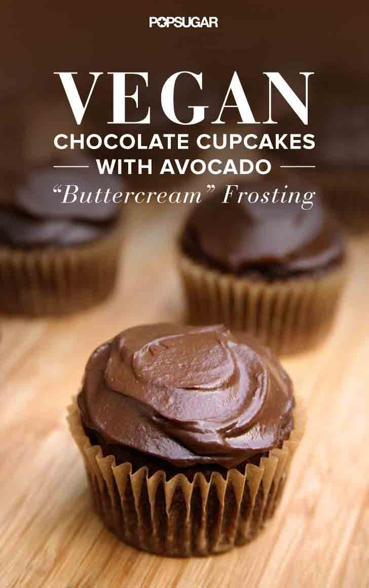 """These """"buttercream"""" frosting this moist and decadent vegan chocolate cupcakes are made with avocados!"""