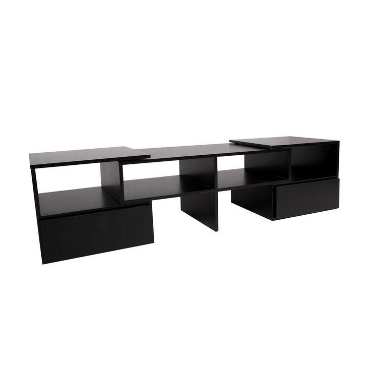 TV Stand Entertainment Unit Adjustable Cabinet Black