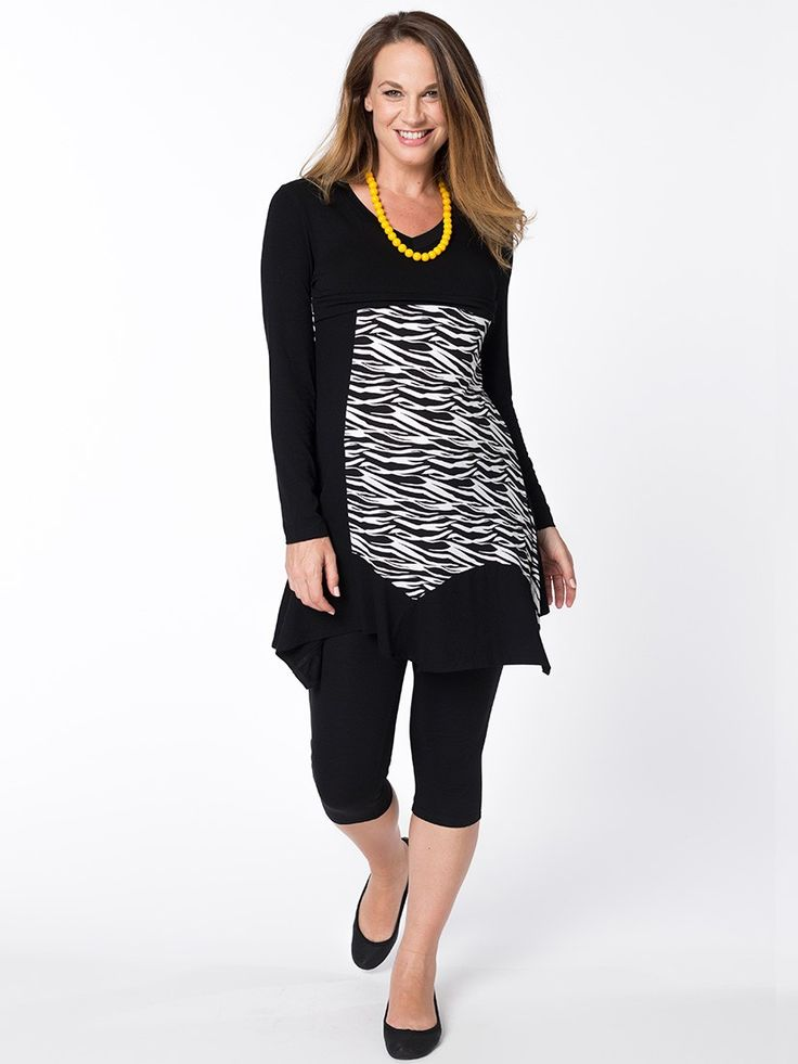 Zebra Askew Breastfeeding Tunic from breastmates.co.nz -- This quirky zebra striped tunic with a flattering and stylish asymmetric swing hemline features a hidden horizontal zip for discreet breastfeeding access.