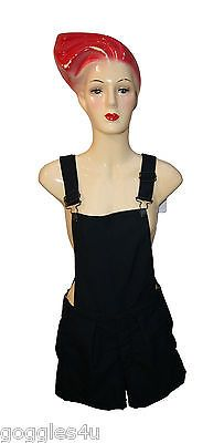*NEW* Ladies Dungaree short 80's 90s Dark Blue Vintage Tailored Size 8
