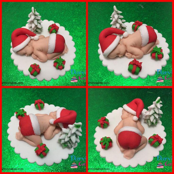 Baby Santa Fondant | Fondant Santa | Santa Baby Shower | Baby Cake Topper | Santa Cake Toppers | Baptism Cake Topper by darvincakes on Etsy https://www.etsy.com/uk/listing/463880780/baby-santa-fondant-fondant-santa-santa