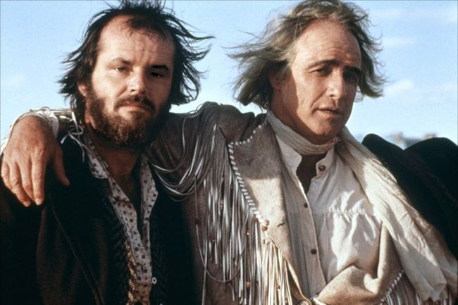 Jack Nicholson and Marlon Brando on the set of The Missouri Breaks directed by Arthur Penn, 1975