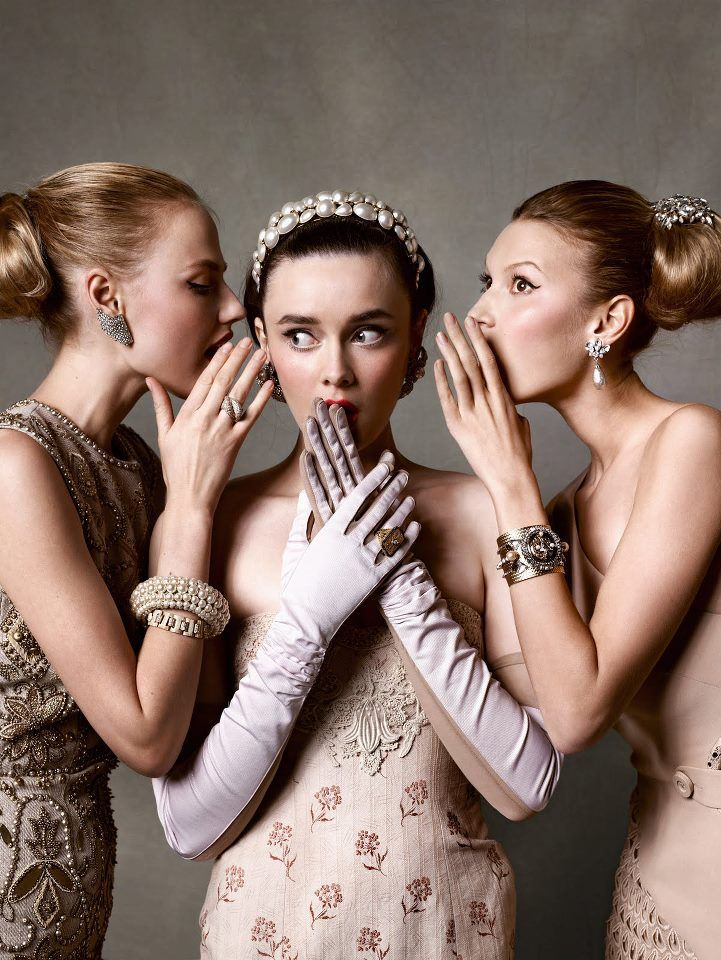 50's diamanté brooch (on hair, right). In #Tatler, May 2011. Photo : #AnnaBromilow. Photo : #KristianSchuller.