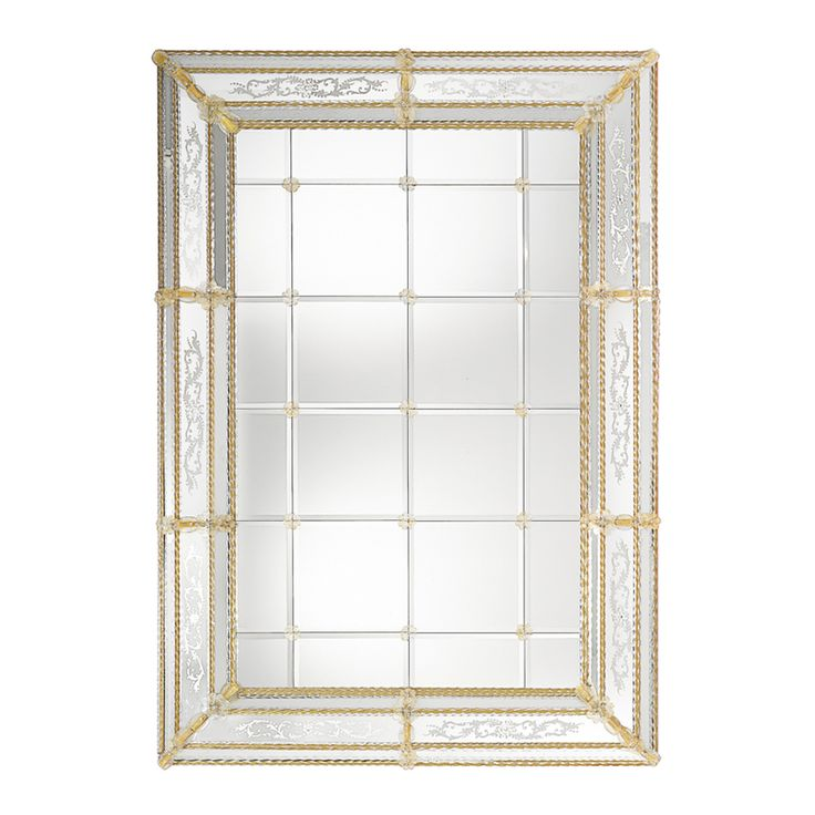 Big hand engraved mirror in 015 Venetian style with central mirror divided in bevelled panels and #Murano glass decorations in crystal gold colour. Structure in natural wood.