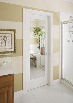 Master bath idea - Low cost ideas to revamp 1970's dark wood, flat, hollow core doors #diy #home #decor