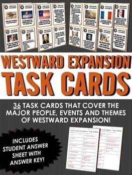 Westward Expansion/Manifest Destiny - Task Cards (36 Westward Expansion Task Cards) - This 16 page Westward Expansion/Manifest Destiny resource includes 36 task cards related to the major people, events and themes of Westward Expansion/Manifest Destiny. 4-10 $