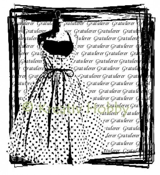 UM Stempel - Prikkete kjole i ramme