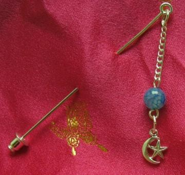 Silver star and crescent hijab pin