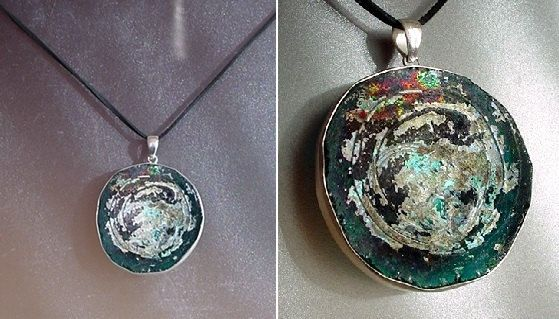 Rusty Aqua Grey Silver Green Blue Color Round Ancient by camexinc