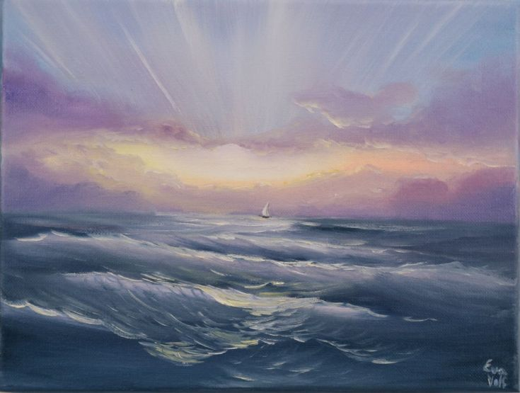 """Buy Waves of Change 12x9"""" sunrise sailboat oil painting on canvas, Oil painting by Eva Volf on Artfinder. Discover thousands of other original paintings, prints, sculptures and photography from independent artists."""