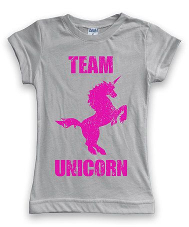 This Light Gray 'Team Unicorn' Crewneck Tee - Toddler & Girls is perfect! #zulilyfinds