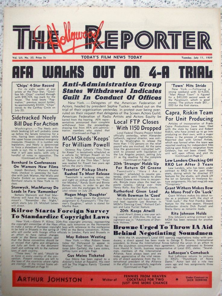 The Hollywood Reporter trade paper, July 11 1939, William Powell, Beau Geste