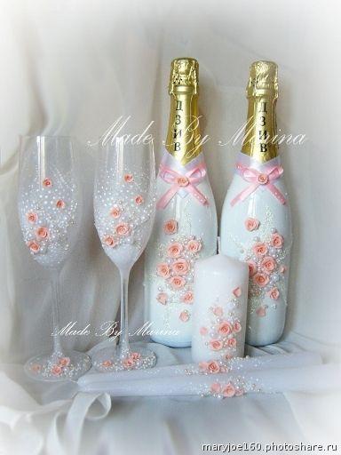 Свадебные наборы. бокалы 1200р, добавление инициалов 50р,декор 2х бутылок 1800+стоимость шампанского, 3 свечи 750р (Свадьбы)