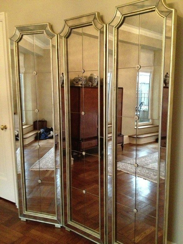 Large french tri fold screen floor standing mirror tri for Mirror screen