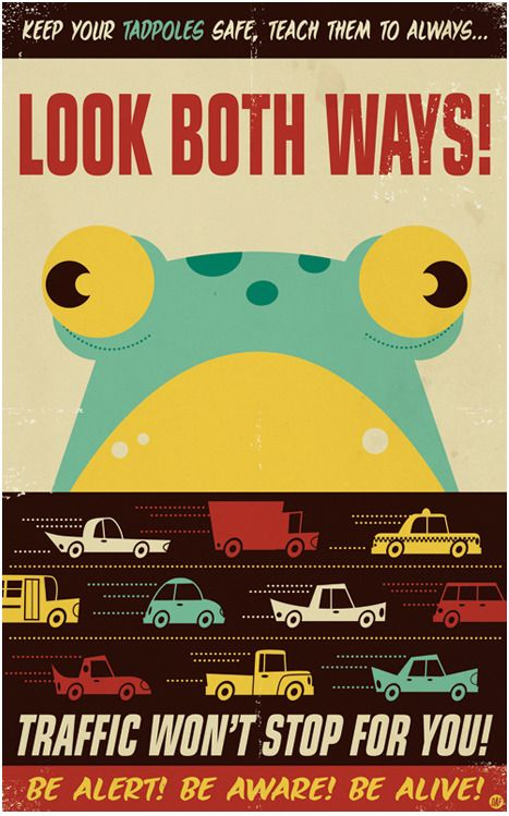 "Frogger video game and mid-century illustration-styled poster, seemingly featured in the ""Multiplayer"" Group Show at Gallery 1988 in Venice, Santa Monica. Poor big-eyed retro froggie, always having to cross the road for no apparent reason. ;("