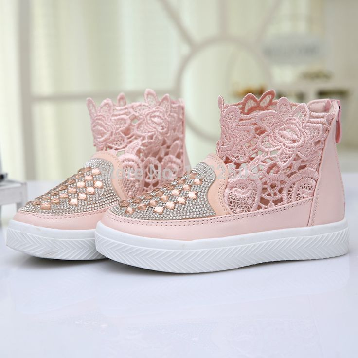 2015 girls spring shoes rhinestones lace embroidery high tops kids sneakers breathable summer cool boots toddler