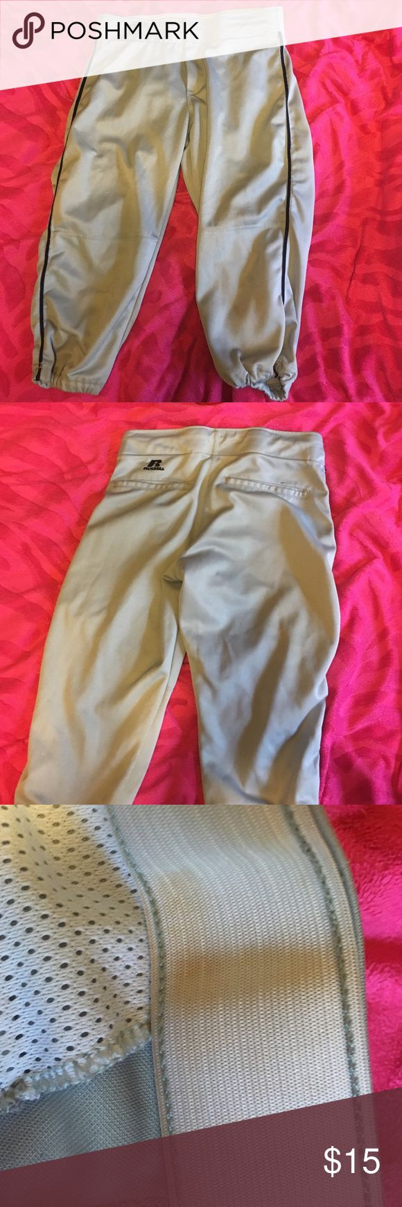 🔴FLASH SALE🔴 SOFTBALL PANTS These are gray with a navy blue stripe. They are in pretty good shape I couple picks here and there but they arnt noticing everyone. There is a little dirt on the inside band but no visible stains on the outside. Feel free to ask any questions or make an offer! Russell Pants Capris