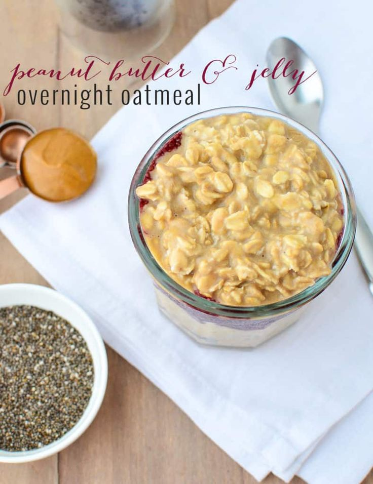 Peanut Butter and Jelly Overnight Oatmeal! Whipped peanut butter and banana oats layered with grape chia filling! A heart healthy breakfast filled with soluble fiber and omega-3 fatty acids.   www.delishknowledge.com