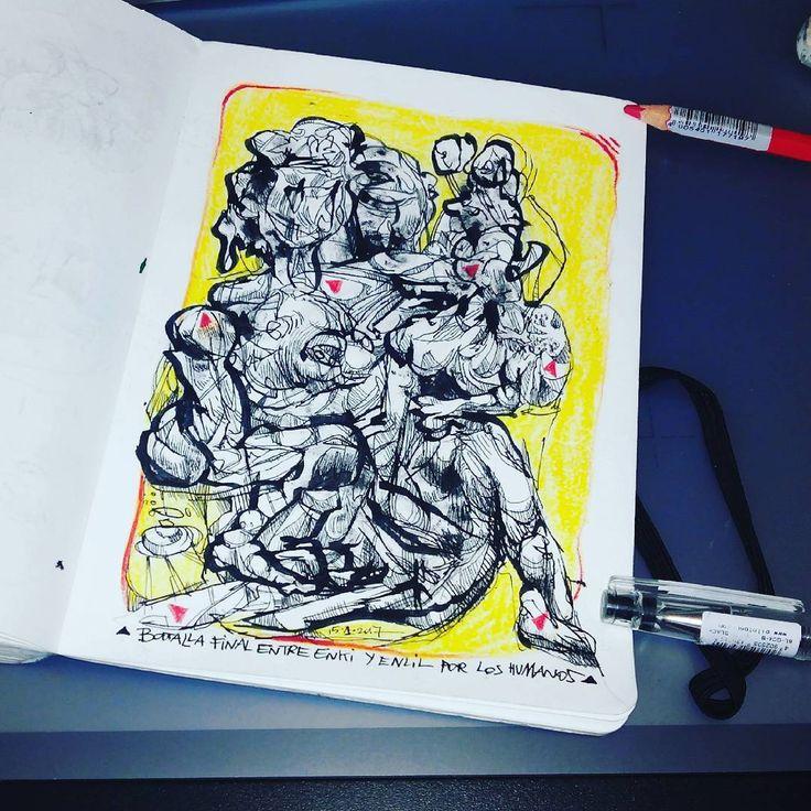Enki & Enlil battle. tinta y lápices de colores