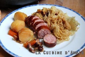 Faite **** ! Recette Chou vert braisé aux saucisses - La cuisine d'Annie