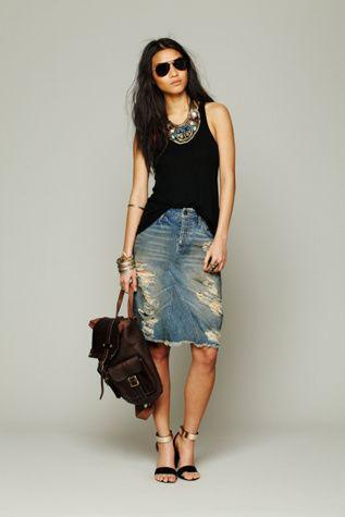Free People LA Lady Denim Skirt