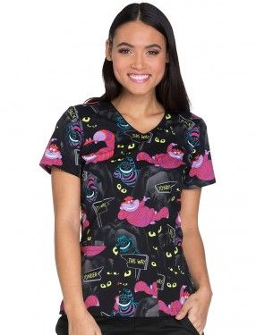 Tooniforms Cheshire Madness Halloween Scrub Top