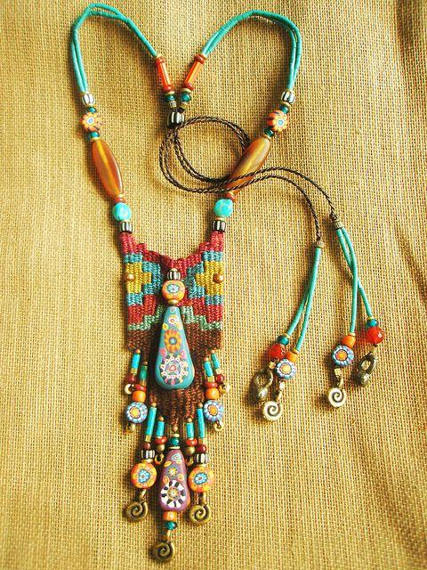 ☮ ➳ American Hippie Bohemian ➳ ☮   Beaded Necklace  Boho Bohéme Feathers Gypsy Spirit