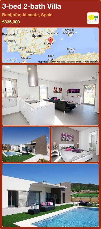 3-bed 2-bath Villa for Sale in Benijofar, Alicante, Spain ►€335,000