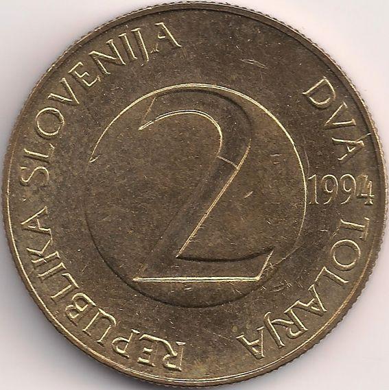 Wertseite: Münze-Europa-Mitteleuropa-Slowenien-Tolar-2.00-1992-2006