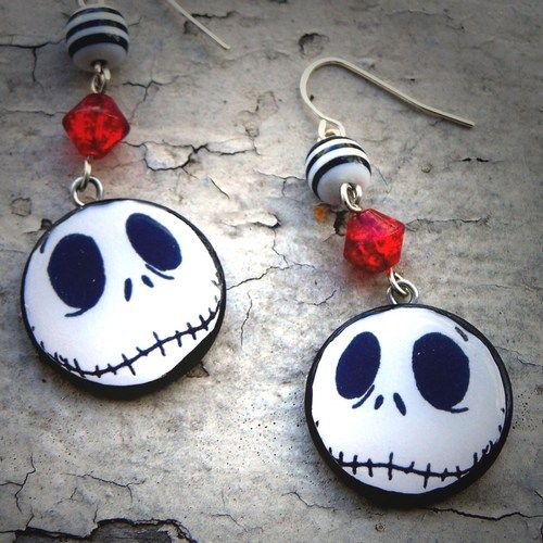 Nightmare Before Christmas Jack Skellington Earrings | PoppysGardenGate - Jewelry on ArtFire