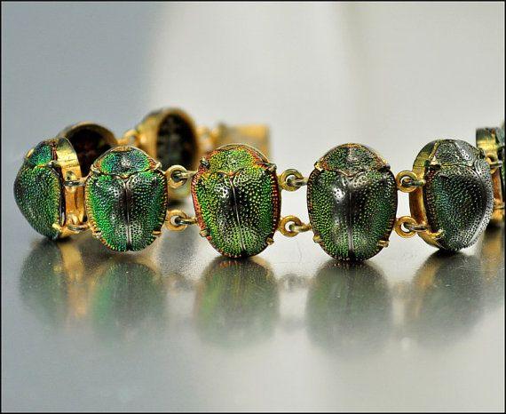 Antique Victorian Bracelet Egyptian Scarab Beetle Gold by boylerpf, $575.00