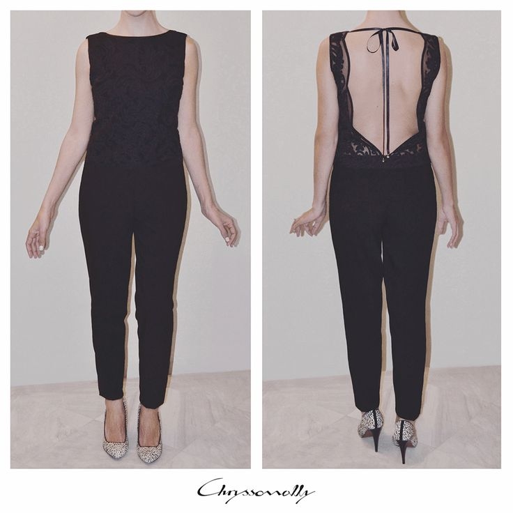SARTORIAL   Chryssomally    Art & Fashion Designer - Black lace top jumpsuit with a gorgeous open back