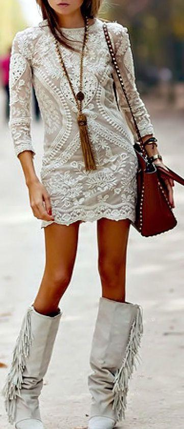 Boho Ivory Lace Dress
