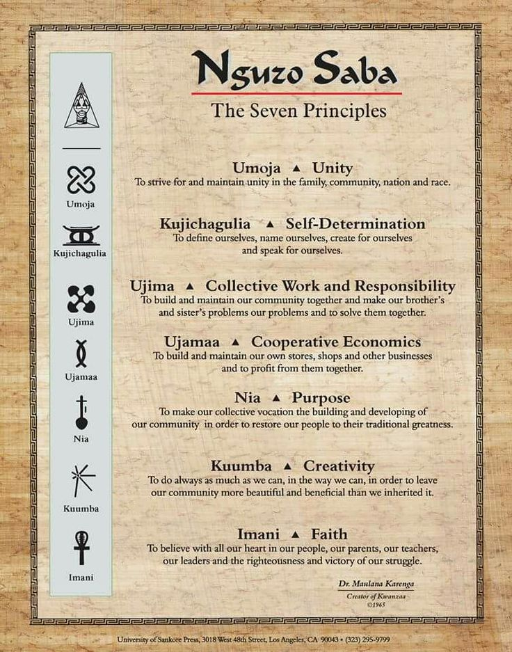 The Nguzo Saba of the seven days of Kwanzaa:  Day 1. Umoja means: unity. Day 2. Kujichagulia means: self-determination. Day 3. Ujima means: working together. Day 4. Ujamaa means: supporting each other. Day 5. Nia means: purpose. Day 6. Kuumba means: creativity. Day 7. Imani means: faith, especially faith in ourselves.  — These are the 7 principles of Kwanzaa★★★★★★★