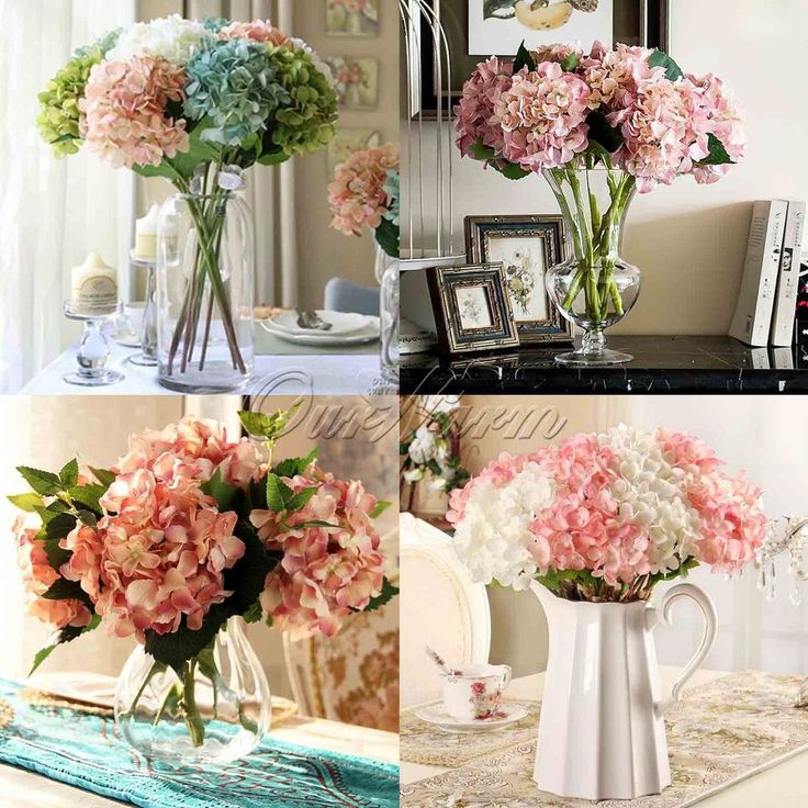 2/5/10 Artificial Hydrangea Bouquet Silk Flowers Wedding Bridal Party Home  Decor