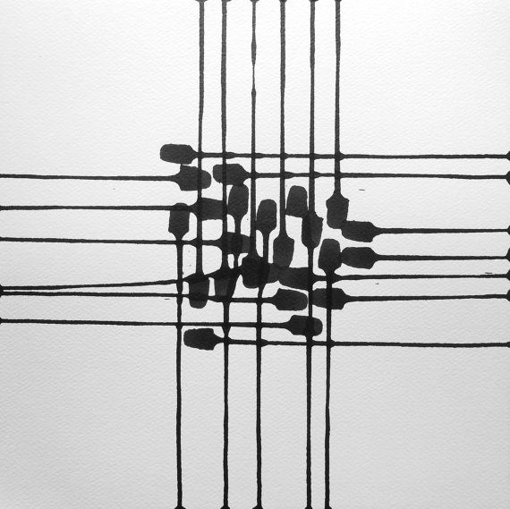 "14 x 14 Square Size Modern Abstract Black and White Hand Painted Ink Painting ""  Across 1060 """