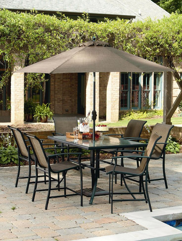 Garden Oasis Harrison 7 Piece Sling High Dining Set   Outdoor Living   Patio  Furniture