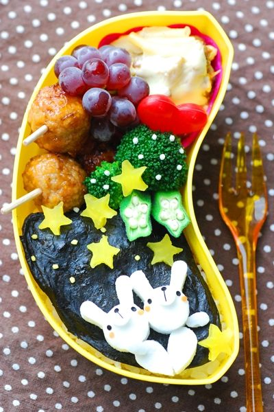 「七夕 星をみつめるうさぎさんのおべんとう」:てしぱんさんの簡単かわいいおべんとさん:レシピブログ
