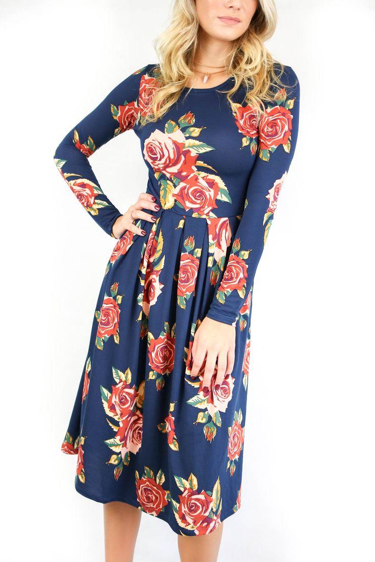 Uniquely Chic Navy Floral Dress