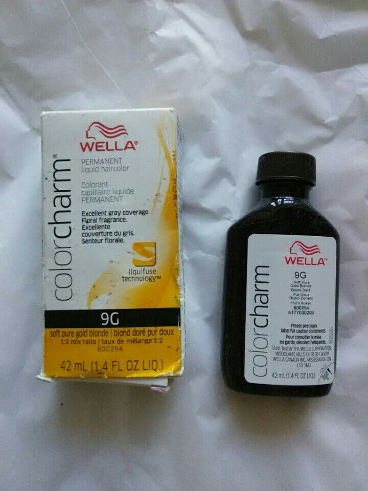 Wella color charm permanent hair dye in 9G soft pure gold blonde. New, never used, box stained with dye from storage.